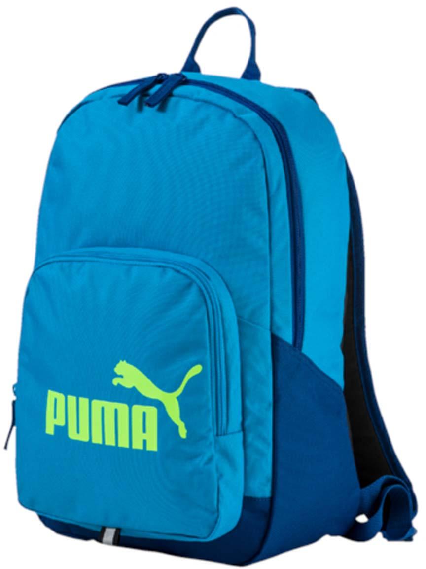 Рюкзак Puma Phase Backpack, цвет: голубой. 0735891407358914Рюкзак Puma выполнен из текстиля. Модель с одним отделением. Передняя стенка оформлена объемным карманом на молнии. Рюкзак оснащен регулируемыми по длине плечевыми лямками и петлей для подвешивания.