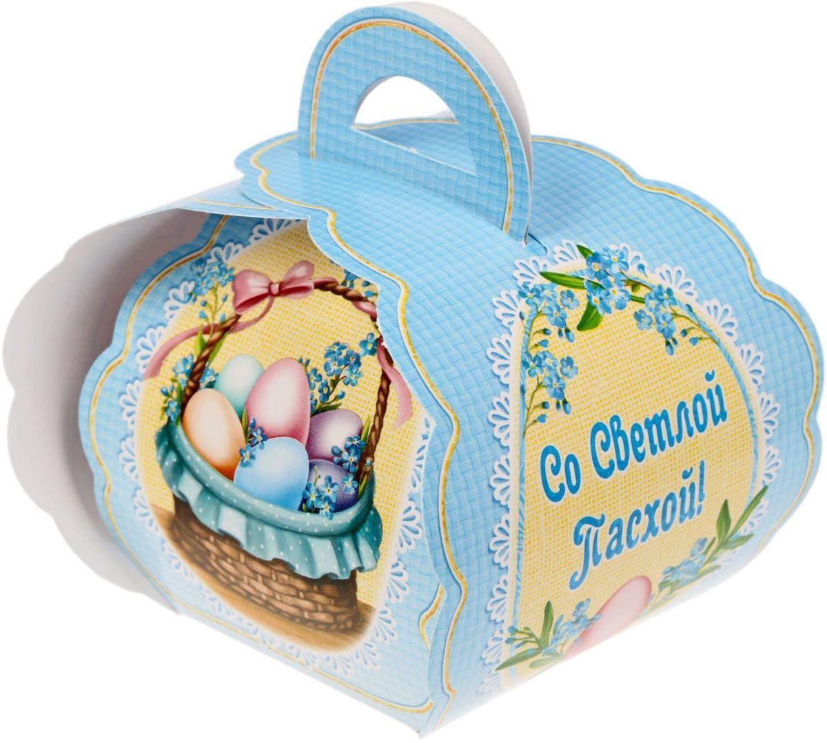 Коробочка подарочная для яйца Со Светлой Пасхой. Корзинка с яйцами. 17469861746986Коробочка подарочная для яйца — новое веяние в мире подарочной упаковки. Представьте, как здорово будет преподнести родным и близким подарки в таком оформлении. Душевный дизайн в народном стиле и пасхальные символы никого не оставят равнодушным. Коробочка надёжна и легка в использовании. Согните её по линиям и положите внутрь заготовленный презент. Благодаря удобной ручке изделие удобно переносить. Размер заготовки: 13,4 х 26,2 см.