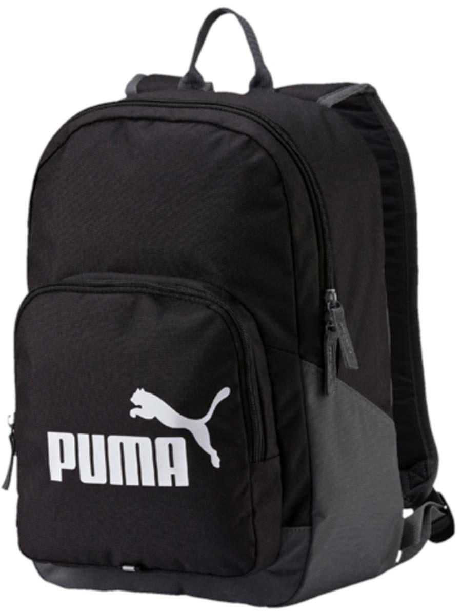 Рюкзак Puma Phase Backpack, цвет: черный. 0735890107358901Рюкзак Puma выполнен из текстиля. Модель с одним отделением. Передняя стенка оформлена объемным карманом на молнии. Рюкзак оснащен регулируемыми по длине плечевыми лямками и петлей для подвешивания.