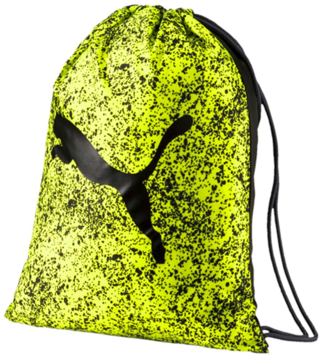 Рюкзак Puma Alpha Gym Sack, цвет: желтый. 0744070407440704Спортивный рюкзак Puma выполнен из текстиля. Модель с одним отделением на затягивающемся шнурке и тонких лямках.