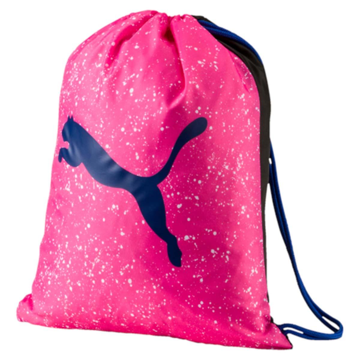 Рюкзак Puma Alpha Gym Sack, цвет: розовый. 0744070207440702Спортивный рюкзак Puma выполнен из текстиля. Модель с одним отделением на затягивающемся шнурке и тонких лямках.