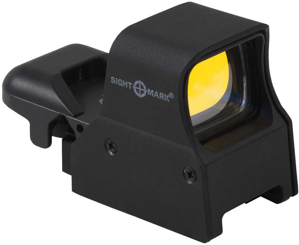 Прицел коллиматорный Sightmark, панорамный на Weaver, со сменной маркой, режим NVSM14002Коллиматор Sightmark панорамный на Weaver, марка - сменная 4 вида, подсветка красная, режим NV. Арт. SM14002 Компания Sightmark, США,Техас, Мэнсфилд впервые представила свою продукцию в 2007 году на SHOT Show. Основной целью компании является разработка и производство современной оптики и аксессуаров для охотников, спортсменов и стрелков. Кроме того, каждый продукт разработан для специализированного рынка, позволяя стрелкам получить больше высококачественных изделий для их огнестрельного оружия и пистолетов. Все коллиматорные прицелы Sightmark разработаны для ружей, винтовок и пистолетов. Коллиматорный прицел Sightmark SM-14002 имеет интегрированное быстросъемное крепление на планку Weaver, позволяющее стрелку эффективно и быстро установить его на свое огнестрельное оружие. С левой стороны прибора располагается батарейный отсек, совмещенный с переключателем яркости прицельной марки. Прицел имеет 5 режимов яркости подсветки прицельной марки. Переключение производится...