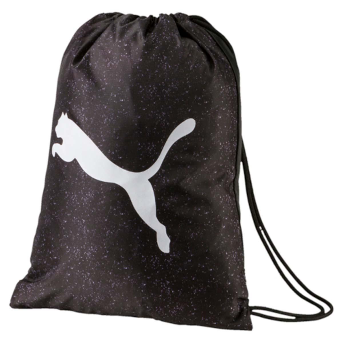 Рюкзак Puma Alpha Gym Sack, цвет: черный. 0744070107440701Спортивный рюкзак Puma выполнен из текстиля. Модель с одним отделением на затягивающемся шнурке и тонких лямках.