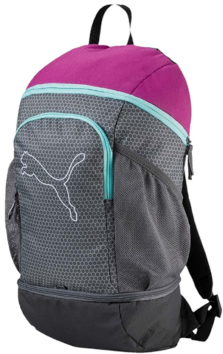 Рюкзак Puma Echo Backpack, цвет: серый. 0743960307439603Рюкзак Puma выполнен из текстиля. У модели одно основное отделение. Передний карман на молнии, боковые стороны дополнены сетчатыми карманами. Рюкзак с регулируемыми по длине плечевыми лямками и петлей для подвешивания.