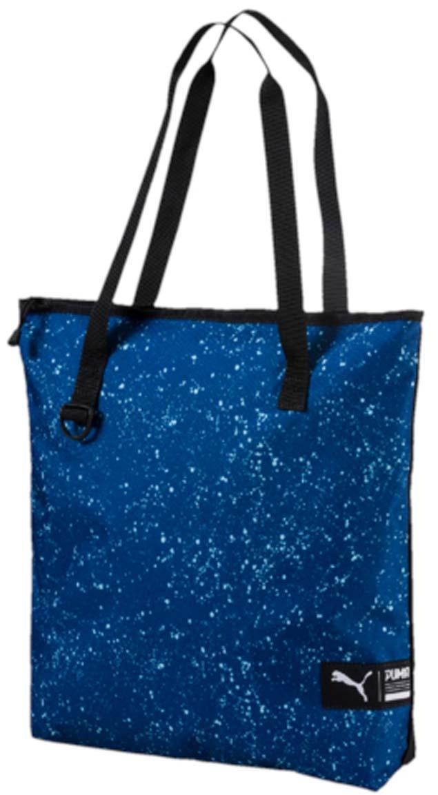 Сумка городская Puma Fundamentals Shopper Ii, цвет: синий. 0744120407441204Удобная вместительная сумка для ежедневных покупок, которую можно использовать и для ношения необходимых тебе аксессуаров для тренировок. Основное отделение на молнии, две тканевые ручки, карабин спереди, тканевый логотип бренда спереди.