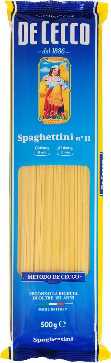 De Cecco паста спагеттини №11, 500 г8001250120113Знаменитый формат возник на юге Италии и в городах, где первоначально производились макаронные изделия: в Неаполе, Генуе и Лигурии. Спагетти имеют удлиненную форму и круглое сечение, диаметром от 1,92 мм до 2 мм. Спагетти можно подавать с горячим или холодным соусами из свежих или консервированных помидоров, овощей и зелени. Они также отлично сочетаются с соусами быстрого приготовления, как альо, ольо э пеперончино (из чеснока, оливкового масла и острого перца).