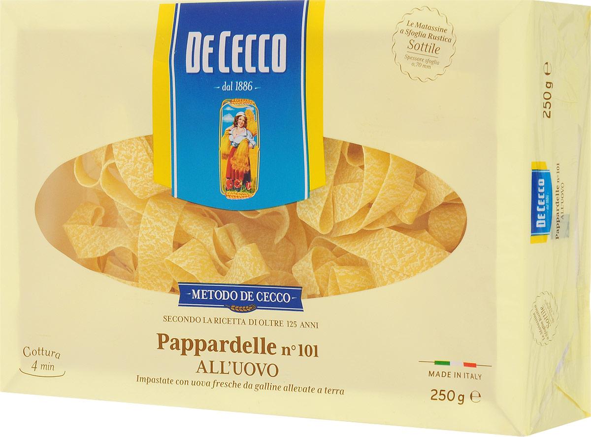 De Cecco паста паппарделле с добавлением яйца №101, 250 г8001250201010Паста паппарделле с добавлением яйца №101 De Cecco - классическая широкая яичная паста, родом из Тосканы. На итальянском pappare - жадно есть, пожирать. Подается с густыми сливочными или мясными соусами, чаще - в запеченных блюдах.