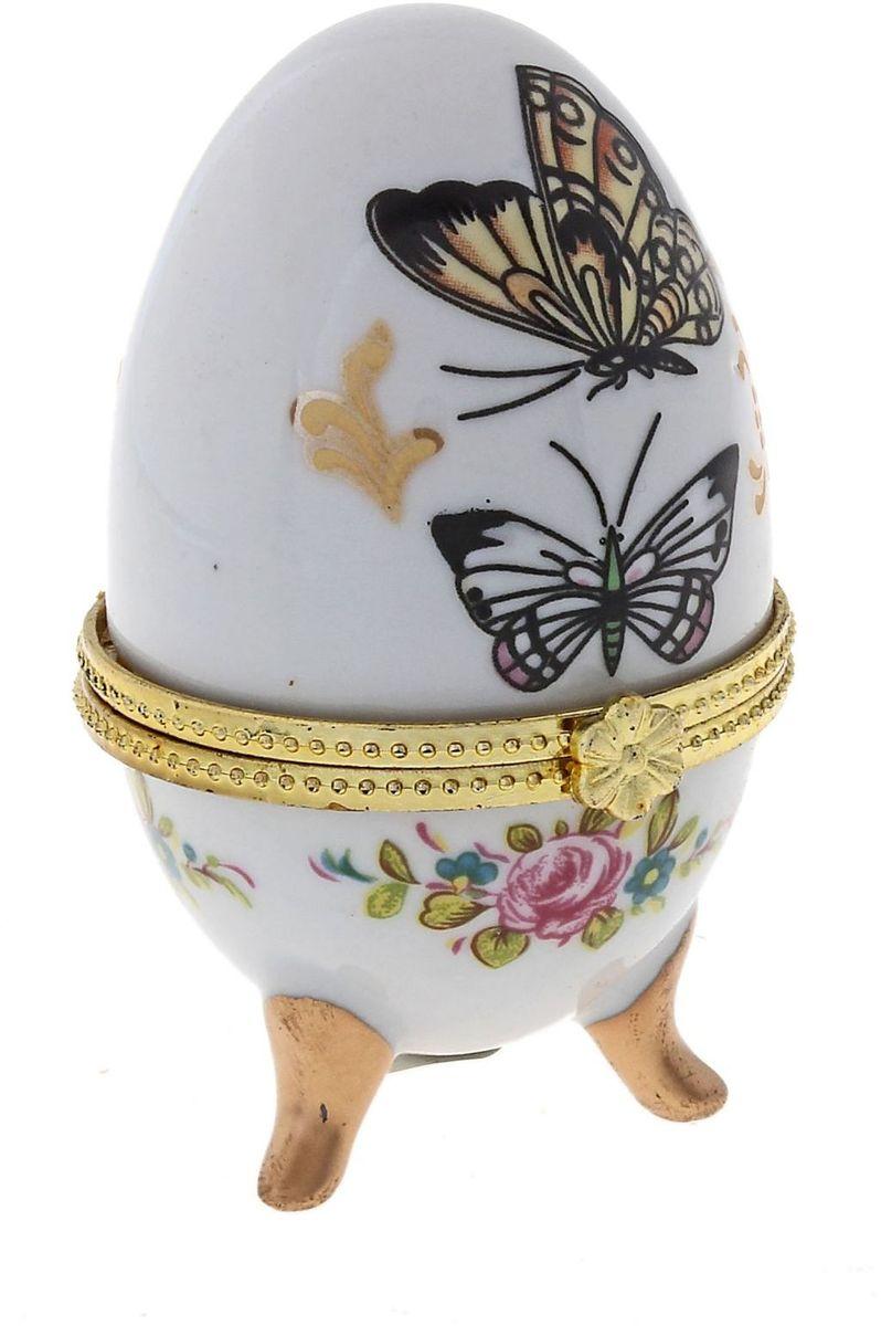 Шкатулка Sima-land Бабочки, 4,5 х 4,5 х 7,5 см295546Пасхальное яйцо — символ жизни и возрождения, ведь именно в Пасху традиционно дарят крашеные или расписные яйца. А в такую забавную шкатулочку можно положить одно из таких яиц и преподнести своему самому родному и близкому человеку, такой презент никогда не забудется, и будет отличаться от других поздравлений.