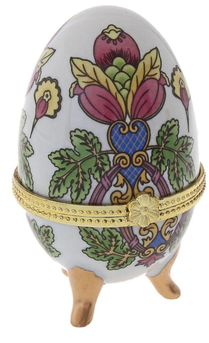 Шкатулка Райский цветок, 4,5 х 4,5 х 7,5 см. 295548295548Пасхальное яйцо — символ жизни и возрождения, ведь именно в Пасху традиционно дарят крашеные или расписные яйца. А в такую забавную шкатулочку можно положить одно из таких яиц и преподнести своему самому родному и близкому человеку, такой презент никогда не забудется, и будет отличаться от других поздравлений.
