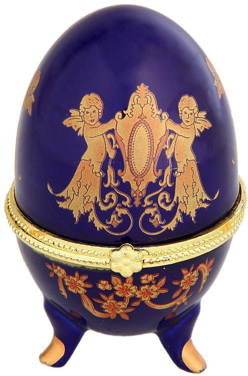 Шкатулка Sima-land Ангелочки, 6 х 10 см295554Шкатулка для украшений, выполненная в форме яйца, за последние годы стала традиционным и очень популярным пасхальным подарком. Витые узоры и рисунки, искусно сочетаясь между собой, создают целостную композицию, украшающую ее поверхность. Шкатулка крепится на трех изогнутых ножках и эффектно смотрится на полке, комоде, камине или в серванте. В ассортименте представлены шкатулки разных цветов, декорированные затейливыми узорами, цветами и прочими элементами. Изысканный и утонченный подарок к самому главному православному празднику!