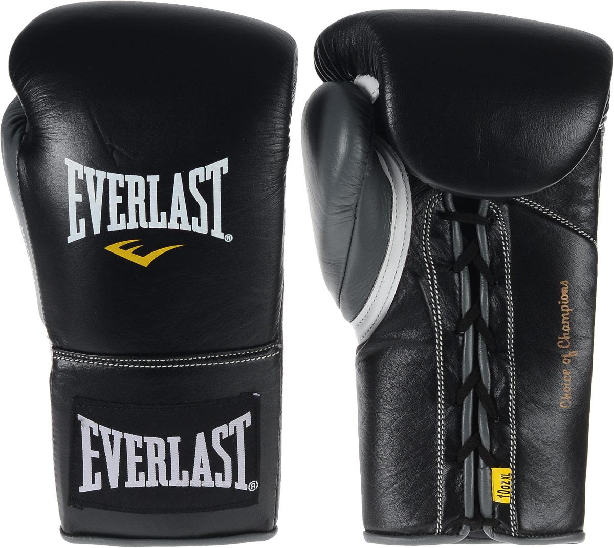 Перчатки боевые Everlast Powerlock, цвет: черный, серый. Вес 10 унций. Размер XL27111070101Боевые перчатки на шнуровке Everlast Powerlock изготавливаются из натуральной кожи премиум класса, выдерживающей длительные нагрузки. Благодаря пенному наполнителю, выложенному по технологии Powerlock, обеспечивается идеальный баланс между силой удара и защитой от травм. Эргономический дизайн перчатки позволяет руке принимать правильную и удобную форму кулака, делая удар быстрым и безопасным одновременно. Предназначены для профессиональных боев.