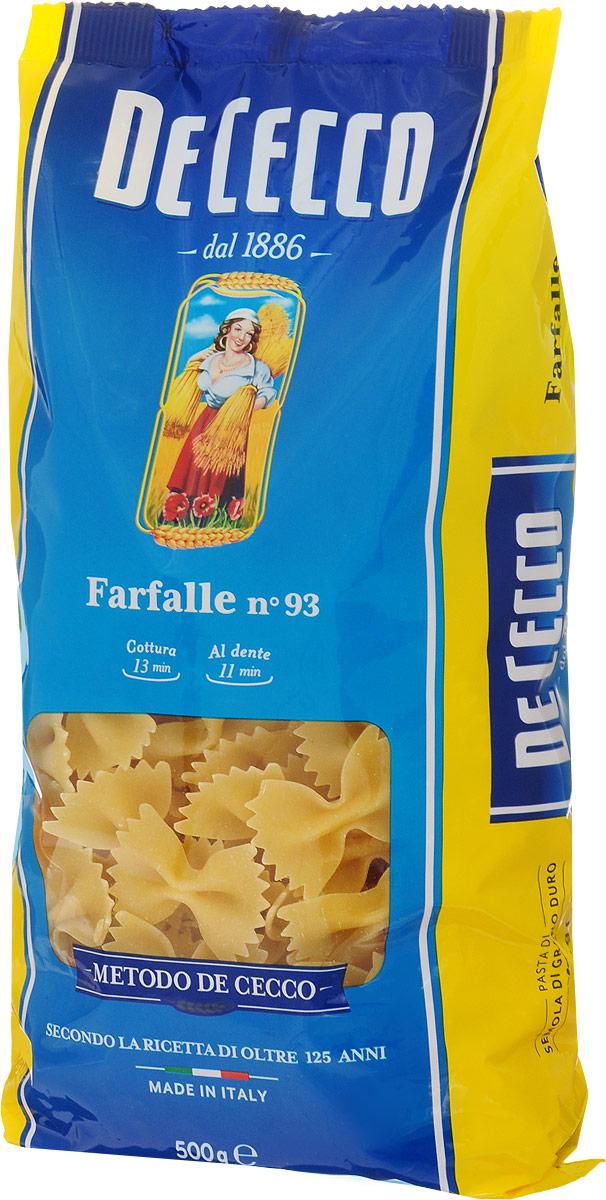 De Cecco паста фарфалле №93, 500 г8001250120939Паста фарфалле De Cecco - это полоски теста со сборками в центре, имеющие форму бабочки. Для их изготовления используется мука из твердых сортов пшеницы, отличающейся особой твердостью зерен и сладковатым ореховым вкусом. Паста гармонирует с нежными сливочными и сырными соусами.