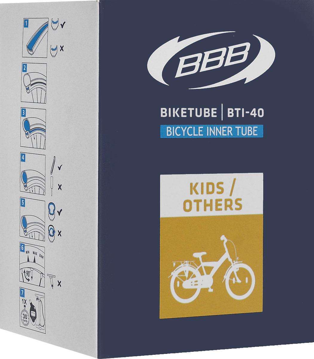 Камера велосипедная BBB, диаметр 24BTI-40Камера BBB изготовлена из долговечного резинового компаунда. Никаких швов, которые могут пропускать воздух. Достаточно большая для защиты от проколов и достаточно небольшая для снижения веса. Велосипедные камеры - обязательный атрибут каждого велосипедиста! Никогда не выезжайте из дома на велосипеде, не взяв с собой запасную велосипедную шину! Диаметр колеса: 24. Допустимый размер сечения покрышки: 1. Ниппель: AV 40 мм. Толщина стенки: 0,87 мм. Категория: универсальная.