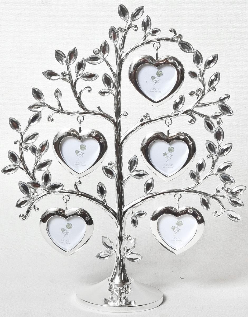 Фоторамка декоративная Platinum Дерево. Сердца, на 5 фото, высота 26 см. PF10789B5 фоторамок на дереве PF10789BРодословное дерево с фоторамками в виде сердец, с фото 3x4 см.