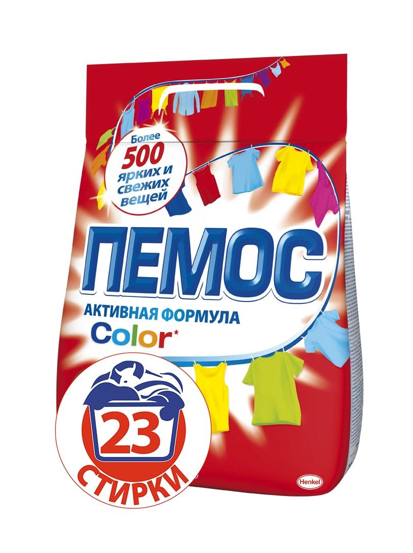 Стиральный порошок Пемос Color, для цветного белья, 3,5 кг935186Пемос Color - стиральный порошок для стирки цветного белья с эффективной формулой, которая отлично отстирывает различные загрязнения. Проникая между волокнами ткани, он растворяет и удаляет грязь, а содержащиеся специальные компоненты сохраняют цвета ткани яркими. С помощью одной пачки вы сможете отстирать более 500 вещей. Стиральный порошок Пемос Color - стирает много, стоит недорого. Товар сертифицирован.