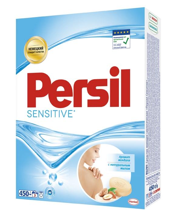 Стиральный порошок Persil Сенситив 450 г935110Persil Sensitive прекрасно подходит для стирки белья людей с чувствительной кожей. Удаляет даже сложные пятна. Содержит натуральное мыло. Persil Sensitive имеет нежный аромат миндаля. Дерматологически протестирован. Рекомендован Европейским центром исследований проблем аллергии (ECARF) для людей с чувствительной кожей. Состав: 5-15% анионные ПАВ, кислородсодержащий отбеливатель; Товар сертифицирован.