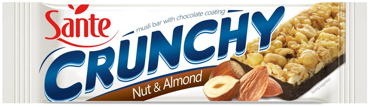 Sante Crunchy батончик мюсли с орехами и миндалем в шоколаде, 40 г 5900617015716