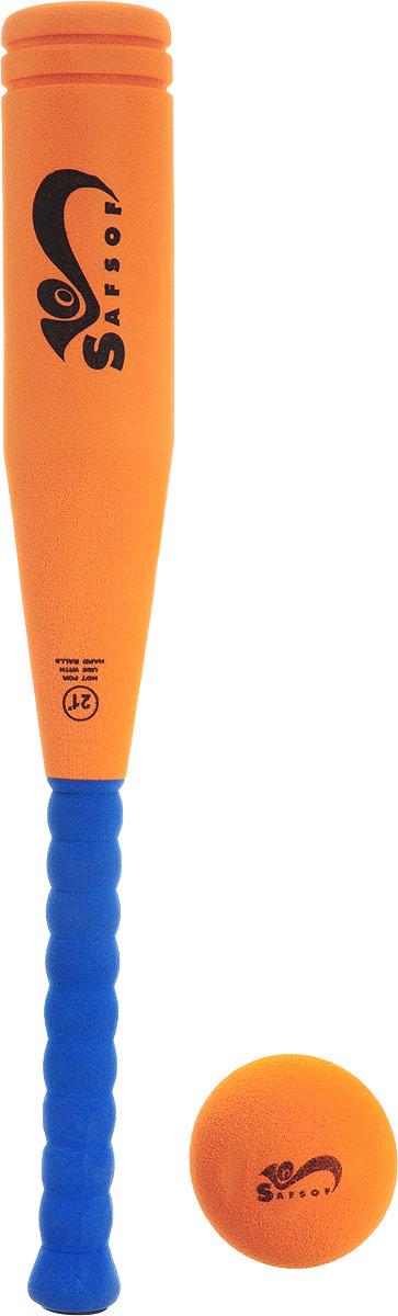 Safsof Игровой набор Бейсбольная бита и мяч цвет оранжевый синийBB-21F(C)_оранжевый/синийИгровой набор Safsof непременно пригодится вам, если вы собрались приобщиться к такой увлекательной игре, как бейсбол. Включает в себя бейсбольную биту и мяч. Изготовлены предметы из вспененной резины. Сегодня профессиональный бейсбол привлекает на стадионы миллионы зрителей и развлекает миллионы людей, которые слушают или смотрят трансляции по радио и телевидению. Благодаря яркой расцветке и легкому мягкому материалу, игра в бейсбол будет не только интересной, но и безопасной. Такой набор станет отличным подарком для маленького спортсмена и будет незаменим на летнем отдыхе.