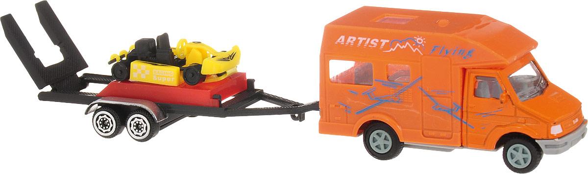 S+S Toys Микроавтобус инерционный с прицепом