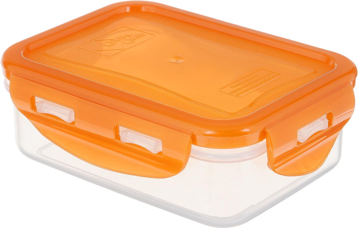 Контейнер пищевой Good&Good, цвет: оранжевый, прозрачный, 330 млB/COL 02-1_прозрачный, оранжевыйПрямоугольный контейнер Good&Good изготовлен из высококачественного полипропилена и предназначен для хранения пищевых продуктов. Благодаря особым технологиям изготовления, изделие в течение срока службы не меняет цвет и не пропитывается запахами. Крышка с силиконовой вставкой герметично защелкивается и дольше сохраняет продукты свежими и вкусными. Контейнер Good&Good удобен для ежедневного использования в быту. Можно мыть в посудомоечной машине и использовать в микроволновой печи при температуре не более 100°С (перед разогревом необходимо снять крышку). Пригоден для хранения в морозильной камере при температуре не ниже -24°С.