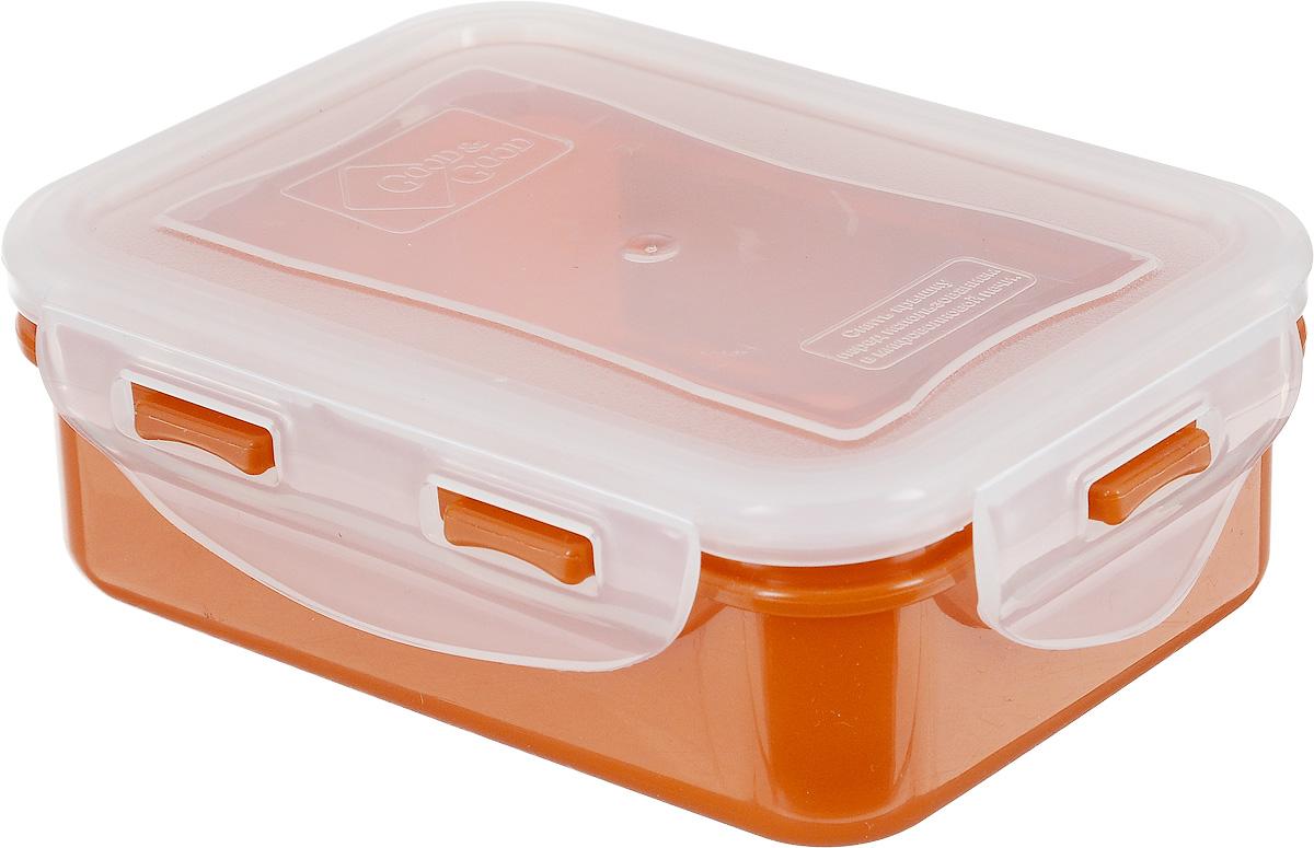 Контейнер пищевой Good&Good, цвет: прозрачный, оранжевый, 330 млB/COL 02-1_оранжевое дноПрямоугольный контейнер Good&Good изготовлен из высококачественного полипропилена и предназначен для хранения пищевых продуктов. Благодаря особым технологиям изготовления, изделие в течение срока службы не меняет цвет и не пропитывается запахами. Крышка с силиконовой вставкой герметично защелкивается и дольше сохраняет продукты свежими и вкусными. Контейнер Good&Good удобен для ежедневного использования в быту. Можно мыть в посудомоечной машине и использовать в микроволновой печи при температуре не более 100°С (перед разогревом необходимо снять крышку). Пригоден для хранения в морозильной камере при температуре не ниже -24°С.