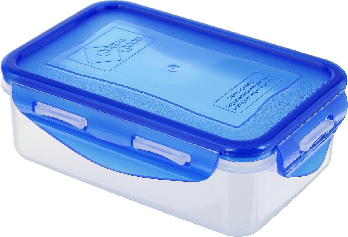 Контейнер пищевой Good&Good, цвет: прозрачный, синий, 500 млB/COL 2-1 _прозрачный, синийПрямоугольный контейнер Good&Good изготовлен из высококачественного полипропилена и предназначен для хранения пищевых продуктов. Благодаря особым технологиям изготовления, изделие в течение срока службы не меняет цвет и не пропитывается запахами. Крышка с силиконовой вставкой герметично защелкивается и дольше сохраняет продукты свежими и вкусными. Контейнер Good&Good удобен для ежедневного использования в быту. Можно мыть в посудомоечной машине и использовать в микроволновой печи при температуре не более 100°С (перед разогревом необходимо снять крышку). Пригоден для хранения в морозильной камере при температуре не ниже -24°С.