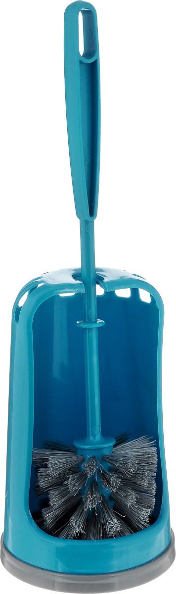 Ершик для туалета York Люкс, с подставкой, цвет: бирюзовый6402_бирюзовыйЕршик для туалета York Люкс выполнен из высококачественного пластика. Жесткая щетина эффективно очищает поверхность от загрязнений. Ершик хранится в специальной пластиковой подставке, которая обеспечивает гигиеничность и удобное хранение. Такой ершик необходим в каждом доме, так как он поможет поддерживать чистоту в туалете. Общая высота ершика (с учетом подставки): 38,5 см. Длина ершика: 34,5 см. Размер подставки для ершика: 11,5 х 11,5 х 19 см.