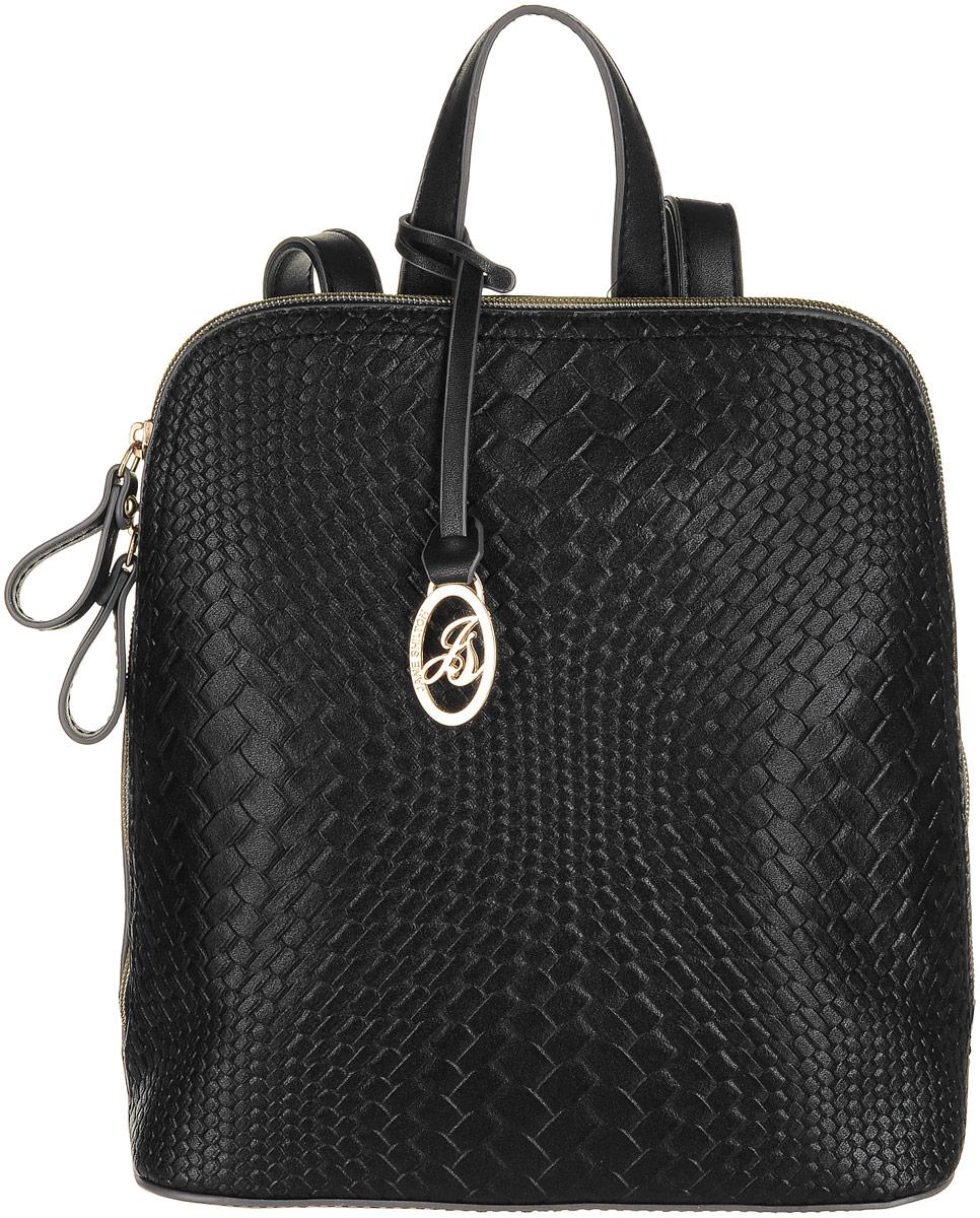 Рюкзак женский Jane Shilton, цвет: черный. 22142214blСтильный женский рюкзак Jane Shilton не оставит вас равнодушной благодаря своему дизайну и практичности. Он изготовлен искусственной кожи и оформлен декоративным тиснением. На тыльной стороне расположен небольшой вшитый карман на молнии. Рюкзак оснащен удобными лямками, длина которых регулируется с помощью пряжек. Также рюкзак имеет удобную ручку, которая оформлена фирменной металлической подвеской. Изделие закрывается на удобную молнию. Внутри расположено главное отделение, которое разделяет карман-средник на молнии. Также внутри расположен один открытый накладной карман для телефона и один вшитый карман на молнии для мелочей. Такой модный и практичный рюкзак завершит ваш образ и станет незаменимым аксессуаром в вашем гардеробе.
