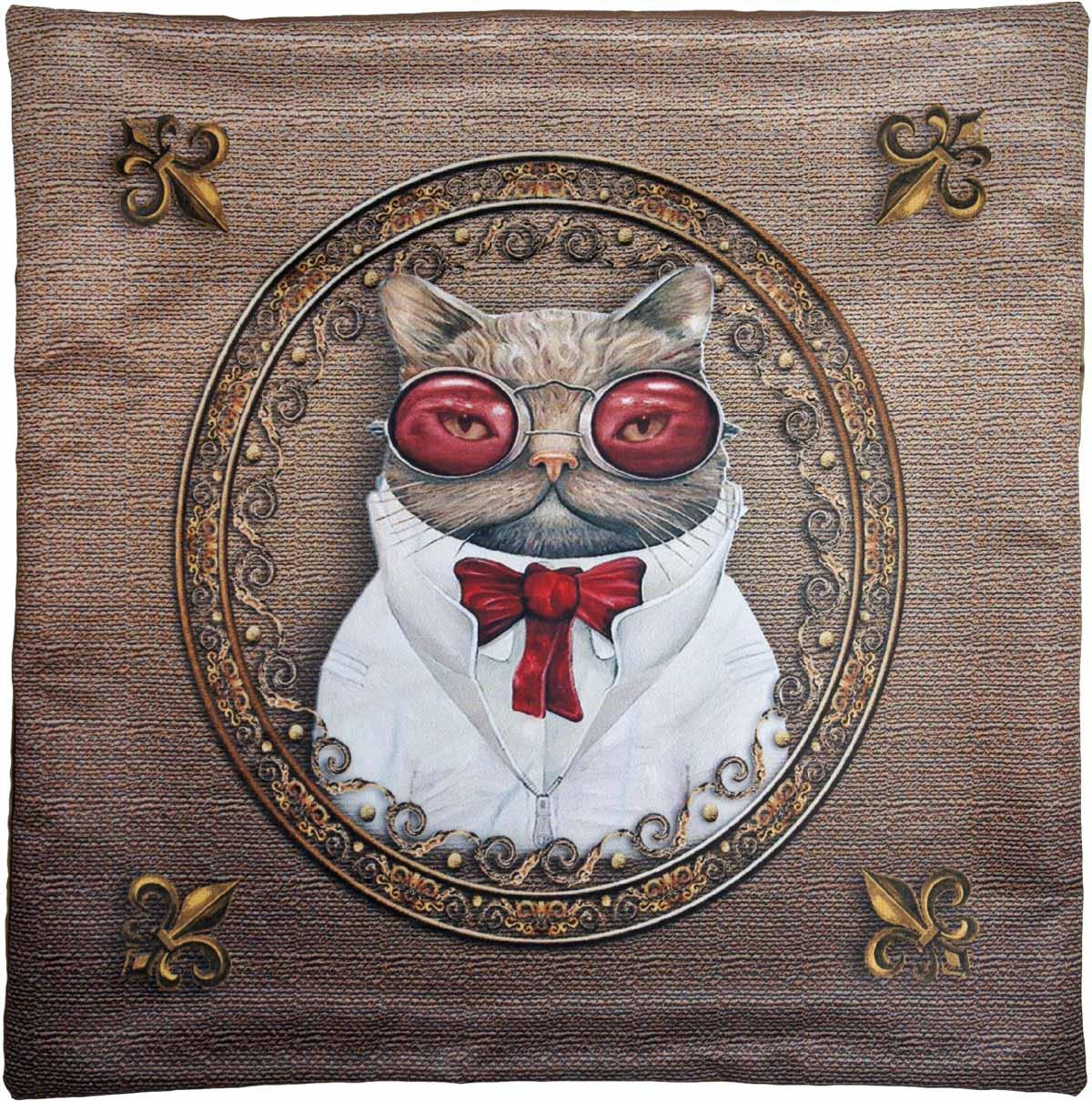 Наволочка для декоративной подушки GiftnHome Кот Пижон, цвет: золотой, белый, красный, 40 х 40 смНВЛ-40 Кот ПижонИзделие изготовлено из искусственного шелка - атласа! Наволочка на молнии