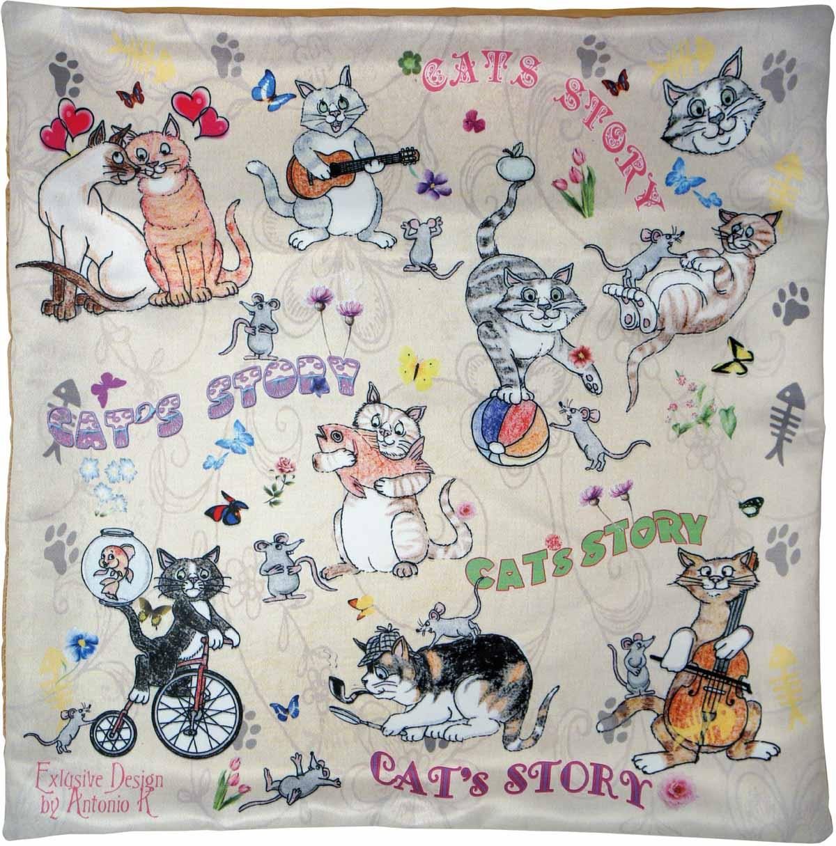 Наволочка для декоративной подушки GiftnHome Веселые кошки, цвет: персиковый, серый, черный, 45 х 45 смНВЛ-45 CatsИзделие изготовлено из искусственного шелка - атласа! Наволочка на молнии