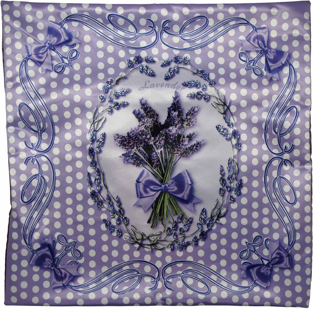 Наволочка для декоративной подушки GiftnHome Лаванда, цвет: сиреневый, зеленый, белый, 45 х 45 смНВЛ-45 Lavender-1Изделие изготовлено из искусственного шелка - атласа! Наволочка на молнии
