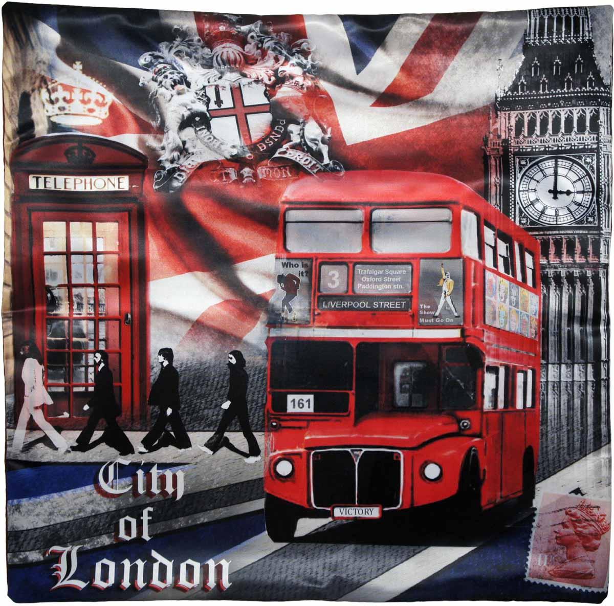 Наволочка для декоративной подушки GiftnHome Лондонские фантазии, цвет: красный, синий, черный, 45 х 45 смНВЛ-45 LdreamИзделие изготовлено из искусственного шелка - атласа! Наволочка на молнии