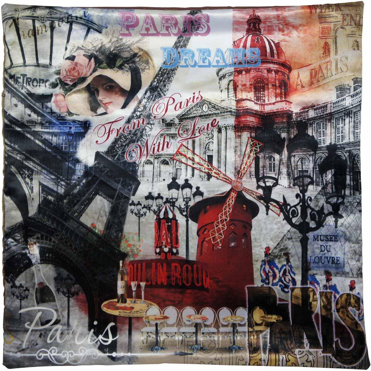Наволочка для декоративной подушки GiftnHome Парижские фантазии, цвет: красный, черный, серый, 45 х 45 смНВЛ-45 PDreamИзделие изготовлено из искусственного шелка - атласа! Наволочка на молнии