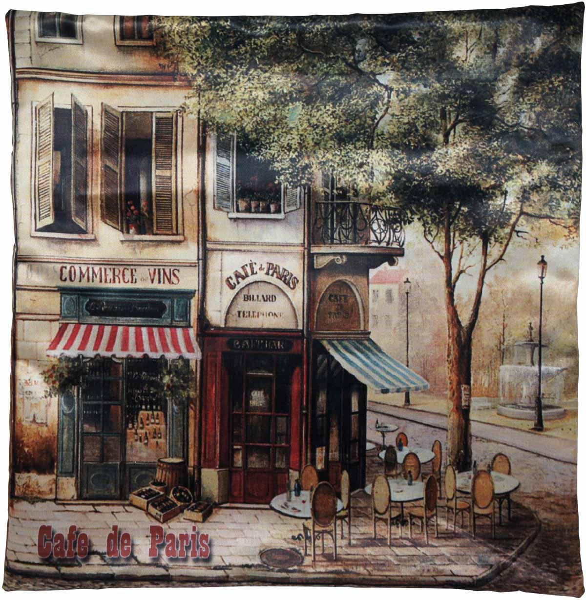 Наволочка для декоративной подушки GiftnHome Парижское кафе, цвет: коричневый, красный, голубой, 45 х 45 смНВЛ-45 CafеИзделие изготовлено из искусственного шелка - атласа! Наволочка на молнии