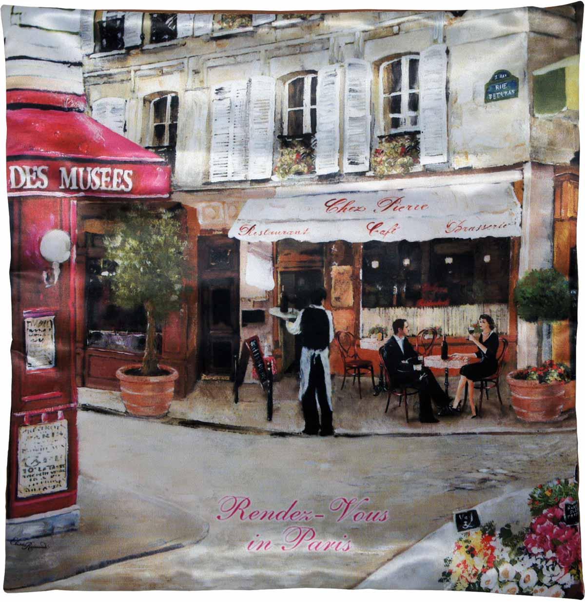 Наволочка для декоративной подушки GiftnHome Свидание в Париже, цвет: красный, бежевый, зеленый, 45 х 45 смНВЛ-45 СвиданиеИзделие изготовлено из искусственного шелка - атласа! Наволочка на молнии