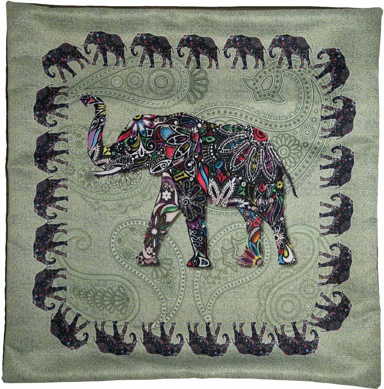 Наволочка для декоративной подушки GiftnHome Слон, цвет: фисташковый, черный, 45 х 45 смНВЛ-45 Слон/фисташковый/Изделие изготовлено из искусственного шелка - атласа! Наволочка на молнии