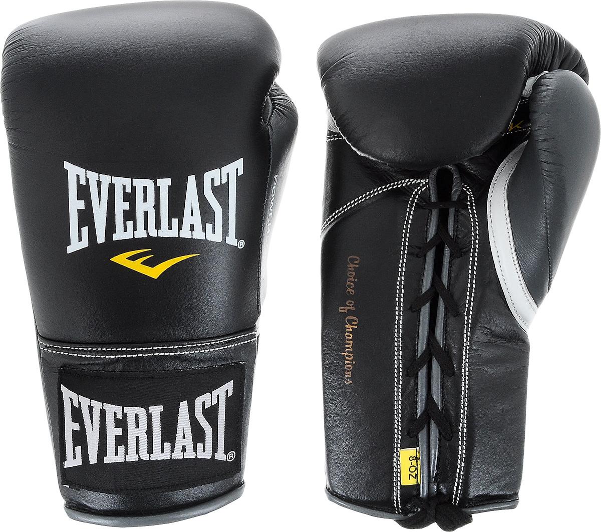 Перчатки боевые Everlast Powerlock, цвет: черный, серый. Вес 8 унций27108070101Боевые перчатки на шнуровке Everlast Powerlock изготавливаются из натуральной кожи премиум класса, выдерживающей длительные нагрузки. Благодаря пенному наполнителю, выложенному по технологии Powerlock, обеспечивается идеальный баланс между силой удара и защитой от травм. Эргономический дизайн перчатки позволяет руке принимать правильную и удобную форму кулака, делая удар быстрым и безопасным одновременно. Предназначены для профессиональных боев.