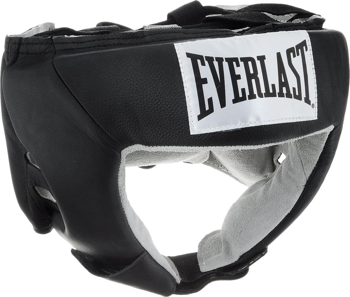 Шлем боксерский Everlast USA Boxing, цвет: черный, белый. Размер XL610601UEverlast USA Boxing - боксерский шлем, разработанный для выступления на любительских соревнованиях и одобренный ассоциацией USA Boxing. Плотный четырехслойный пенный наполнитель превосходно амортизирует удары и значительно снижает риск травмы. Качественная натуральная кожа (снаружи) и не менее качественная замша (внутри) обеспечивают значительный запас прочности и отличную износоустойчивость. Подгонка под необходимый размер и фиксация на голове происходят за счет затягивающихся шнурков. Если вы еще ищите шлем для предстоящих соревнований, то Everlast USA Boxing - это ваш выбор! Диаметр головы: 21 см.