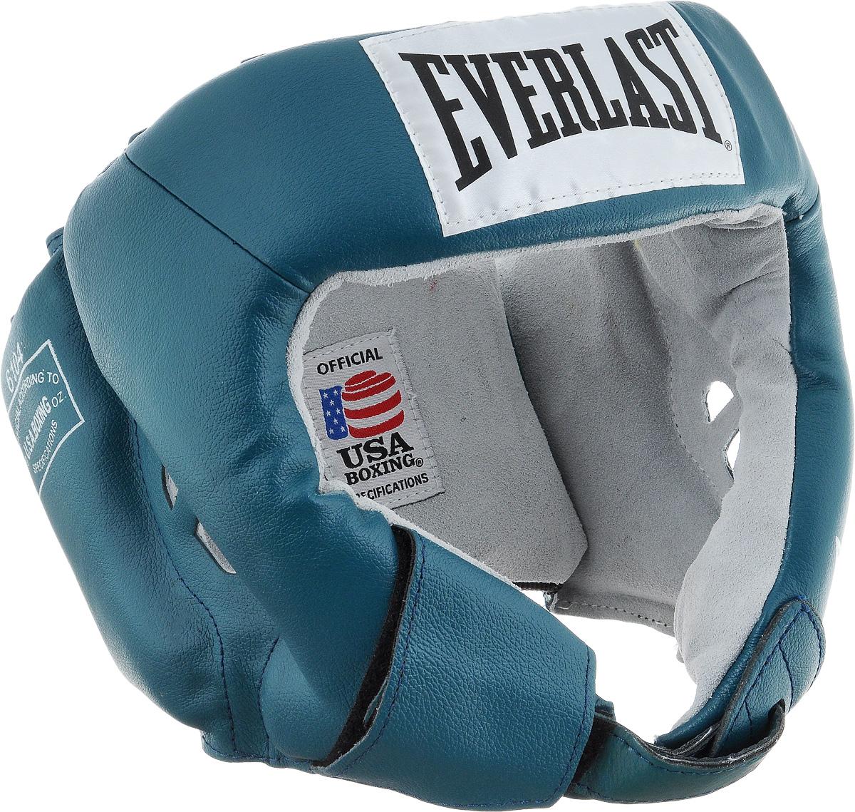 Шлем боксерский Everlast USA Boxing, цвет: бирюзовый, белый. Размер L610406UEverlast USA Boxing - боксерский шлем, разработанный для выступления на любительских соревнованиях и одобренный ассоциацией USA Boxing. Плотный четырехслойный пенный наполнитель превосходно амортизирует удары и значительно снижает риск травмы. Качественная натуральная кожа (снаружи) и не менее качественная замша (внутри) обеспечивают значительный запас прочности и отличную износоустойчивость. Подгонка под необходимый размер и фиксация на голове происходят за счет затягивающихся шнурков. Если вы еще ищите шлем для предстоящих соревнований, то Everlast USA Boxing - это ваш выбор! Диаметр головы: 18 см.