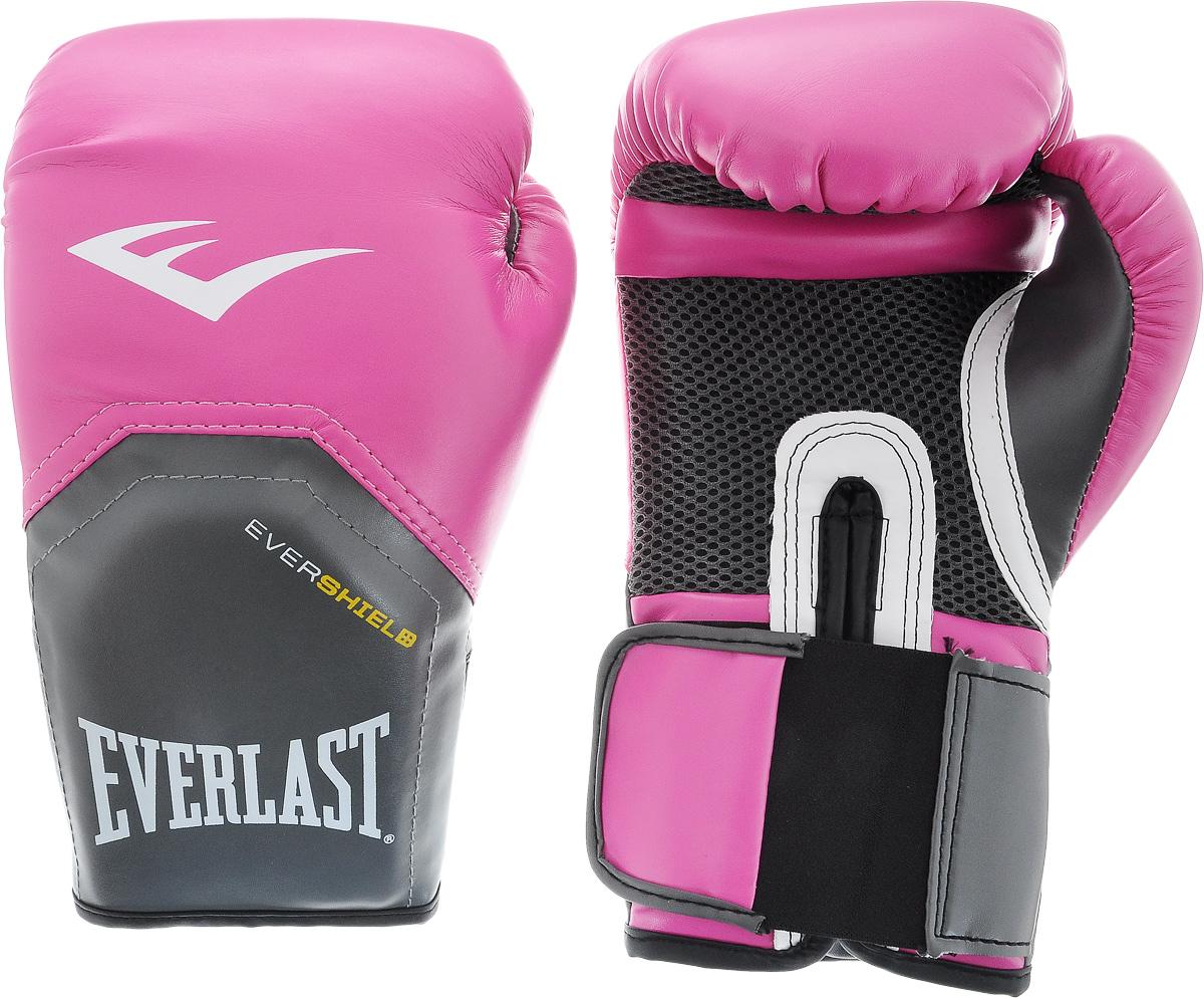 Перчатки боксерские Everlast ProStyle Elite, цвет: розовый, серый. Вес 10 унций2510EEverlast ProStyle Elite — тренировочные боксерские перчатки для спаррингов и работы на снарядах. Изготовлены из качественной искусственной кожи с применением технологий Everlast, использующихся в экипировке профессиональных спортсменов. Благодаря выверенной анатомической форме перчатки надежно фиксируют руку и гарантируют защиту от травм. Нижняя часть, полностью изготовленная из сетчатого материала, обеспечивает циркуляцию воздуха и препятствует образованию влаги, а также неприятного запаха за счет антибактериальной пропитки Everfresh. Модель подходит для начинающих боксеров, которые хотят тренироваться с экипировкой высокого класса.