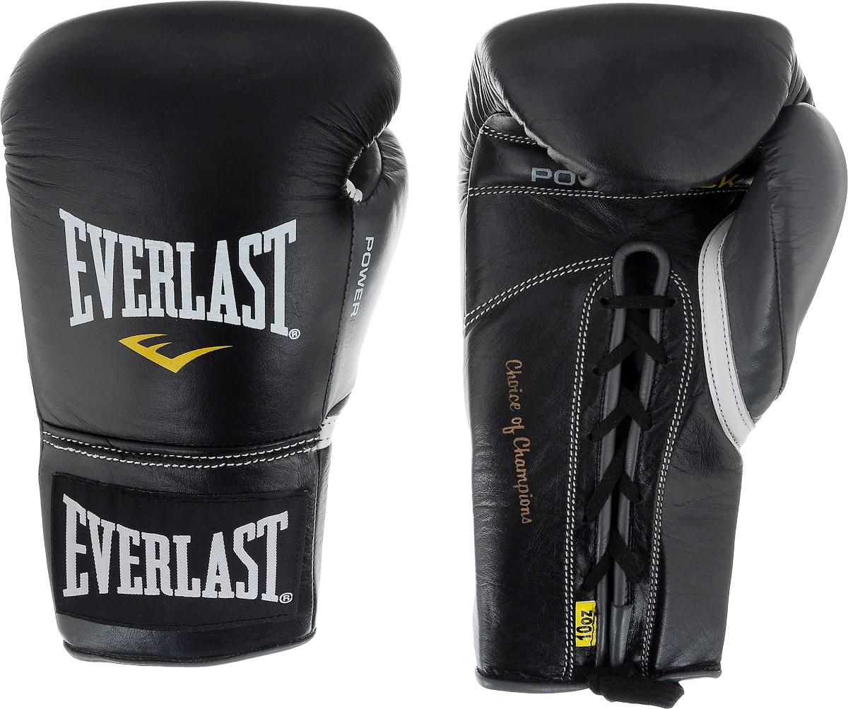 Перчатки боевые Everlast Powerlock, цвет: черный, серый. Вес 10 унций27110070101Боевые перчатки на шнуровке Everlast Powerlock изготавливаются из натуральной кожи премиум класса, выдерживающей длительные нагрузки. Благодаря пенному наполнителю, выложенному по технологии Powerlock, обеспечивается идеальный баланс между силой удара и защитой от травм. Эргономический дизайн перчатки позволяет руке принимать правильную и удобную форму кулака, делая удар быстрым и безопасным одновременно. Предназначены для профессиональных боев.