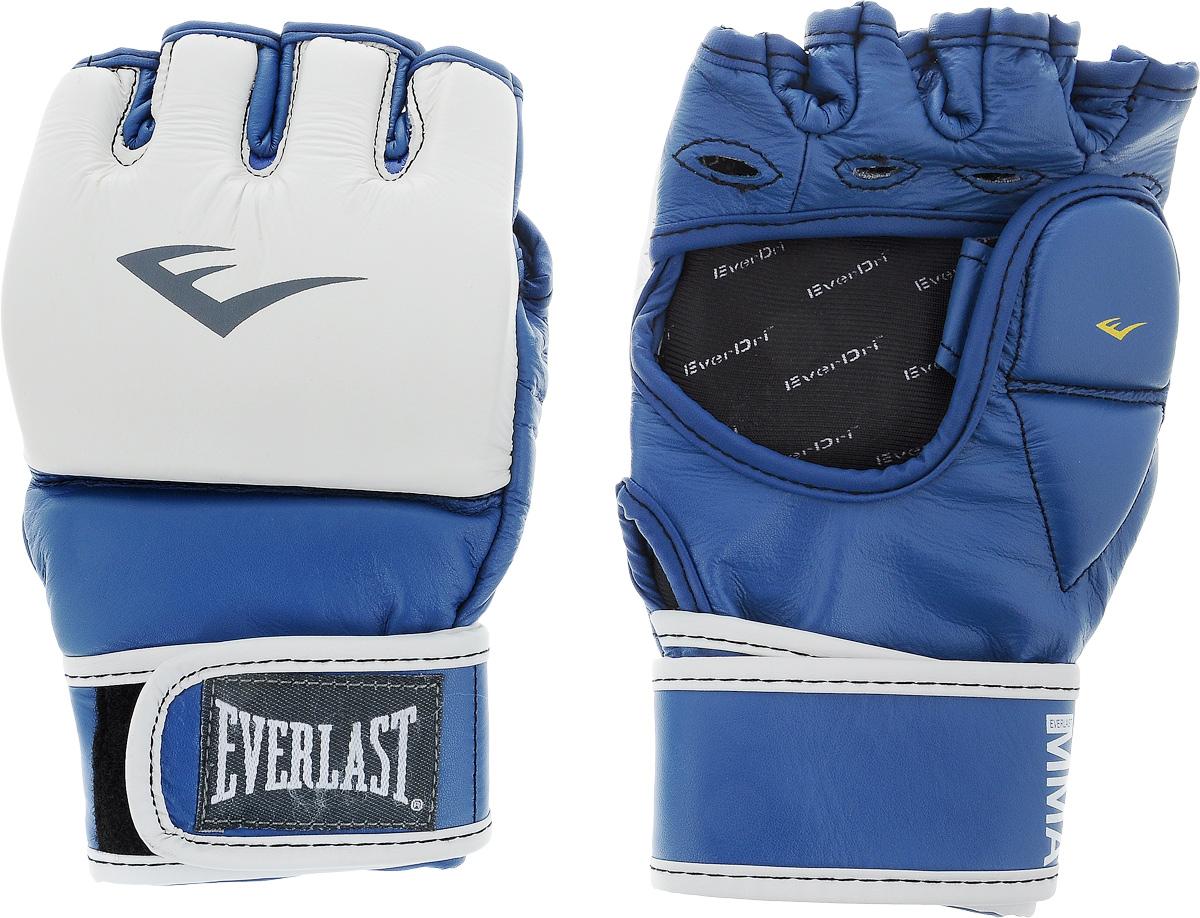 Перчатки тренировочные Everlast MMA Grappling, цвет: синий, белый. Размер L/XL7684BLLXLUТренировочные перчатки Everlast MMA Grappling предназначены для отработки захватов. Натуральная кожа высшего качества вкупе с превосходным дизайном гарантируют долговечность и функциональность. Перчатки идеально повторяют все анатомические изгибы кисти Защита большого пальца состоит из двух секций для большей свободы, швы на ладони значительно усилены. Обмотки с застежкой на липучке позволяют подогнать перчатки по вашей руке, а также обеспечивают максимальную фиксацию запястья.