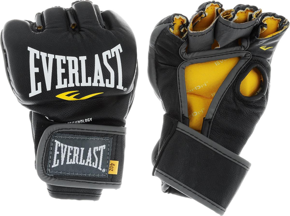 Перчатки боевые Everlast MMA Competition, без пальца цвет: черный, белый, желтый. Размер S7674SUEverlast MMA Competition - удобные и прочные перчатки для занятий Смешанными Боевыми Искусствами, сшитые специально для профессионалов. Благодаря своему обновленному эргономичному дизайну, эти боевые перчатки прекрасно подходят как для отработки захватов во время тренировок, так и для выступлений на соревнованиях. Перчатки изготовлены из высококачественной натуральной кожи, что обеспечивает значительный запас прочности и высокую износоустойчивость. Широкая застежка на липучке позволяет подогнать перчатки под вашу руку, в тоже время плотно фиксируя запястье, что значительно снижает риск получить травму во время боя. Если вам необходимы новые перчатки для выступления на соревнованиях, смело выбирайте Everlast MMA Competition.