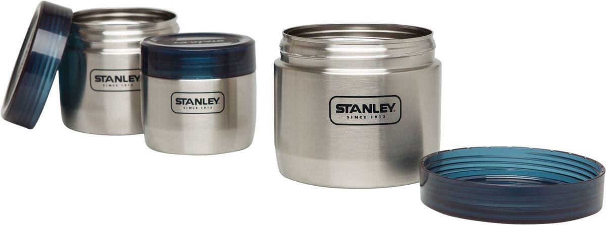 Набор контейнеров Stanley Adventure, 1 л, 0,65 л, 0,41 л, цвет: стальной10-02108-002Набор контейнеров Adventure. Объем 1L/0,65 L/0,41L. Корпус из нержавеющей стали с нанесенной резьбой для завинчивания крышек. Крышки выполнены из полупрозрачного синего пластика. В комплекте 3 контейнера - 1L/0,65 L/0,41L., каждый из которых вставляется в контейнер большего объема. Экономит место при упаковке и хранении пищи. Эргономичный дизайн. Контейнеры можно мыть в посудомоечной машине. Вес-630 гр. Размеры: 12X12X11 см. Пожизненая гарантия.
