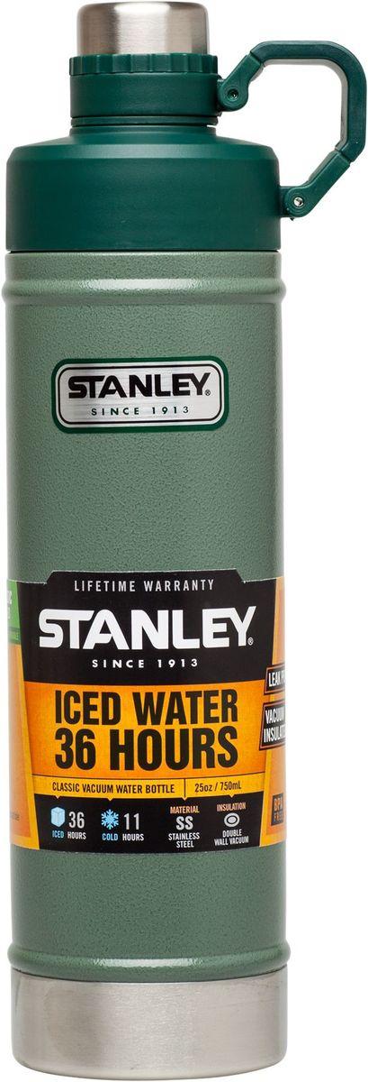 Термобутылка Stanley Classic, 0,75 л, цвет: зеленая10-02286-003Вакуумная изоляция: сохраняет холод – 11 часов, напитки со льдом - 36 часов. Корпус и внутренная колба - нержавеющая сталь. Наружное покрытие – абразивостойкая эмаль. Двухступенчатая крышка с кольцом-держателем. Герметична. Для посудомоечной машины. Цвет-зеленый. Гарантия - пожизненная.