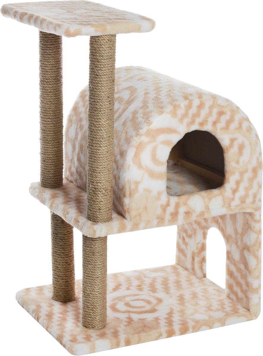 Домик-когтеточка Меридиан, полукруглый, двухэтажный, с полкой, цвет: белый, бежевый, 55 х 40 х 85 смД521ЦвДомик-когтеточка Меридиан выполнен из высококачественного ДВП и ДСП и обтянут искусственным мехом. Изделие предназначено для кошек. Ваш домашний питомец будет с удовольствием точить когти о специальные столбики, изготовленные из джута. А отдохнуть он сможет либо на полке, либо в домике. Домик-когтеточка Меридиан принесет пользу не только вашему питомцу, но и вам, так как он сохранит мебель от когтей и шерсти. Общий размер: 55 х 40 х 85 см. Размер нижнего домика: 40 х 40 х 33 см. Размер полки: 40 х 25 см.