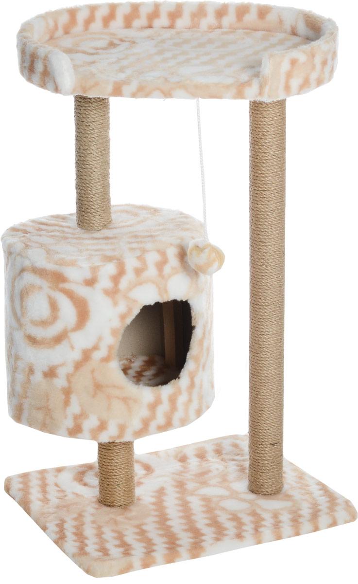Домик-когтеточка Меридиан, круглый, с площадкой, цвет: белый, бежевый, 52 х 52 х 105 смД517ЦвДомик-когтеточка Меридиан выполнен из высококачественного ДВП и ДСП и обтянут искусственным мехом. Изделие предназначено для кошек. Ваш домашний питомец будет с удовольствием точить когти о специальные столбики, изготовленные из джута. А отдохнуть он сможет либо на полке, либо в домике. Изделие снабжено подвесной игрушкой. Домик-когтеточка Меридиан принесет пользу не только вашему питомцу, но и вам, так как он сохранит мебель от когтей и шерсти. Общий размер: 52 х 52 х 105 см. Размер домика: 35 х 35 х 32 см. Размер полки: 51 х 29 см.