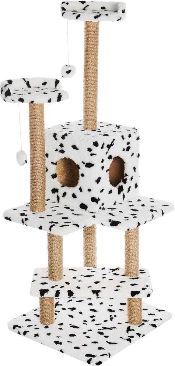 Игровой комплекс для кошек Меридиан Лестница, цвет: белый, черный, бежевый, 56 х 50 х 142 смД151ДИгровой комплекс для кошек Меридиан Лестница выполнен из высококачественного ДВП и ДСП и обтянут искусственным мехом. Изделие предназначено для кошек. Ваш домашний питомец будет с удовольствием точить когти о специальные столбики, изготовленные из джута. А отдохнуть он сможет либо на полках, либо в домике. Общий размер: 56 х 50 х 142 см. Размер верхних полок: 27 х 27 см. Размер домика: 31 х 31 х 32 см.