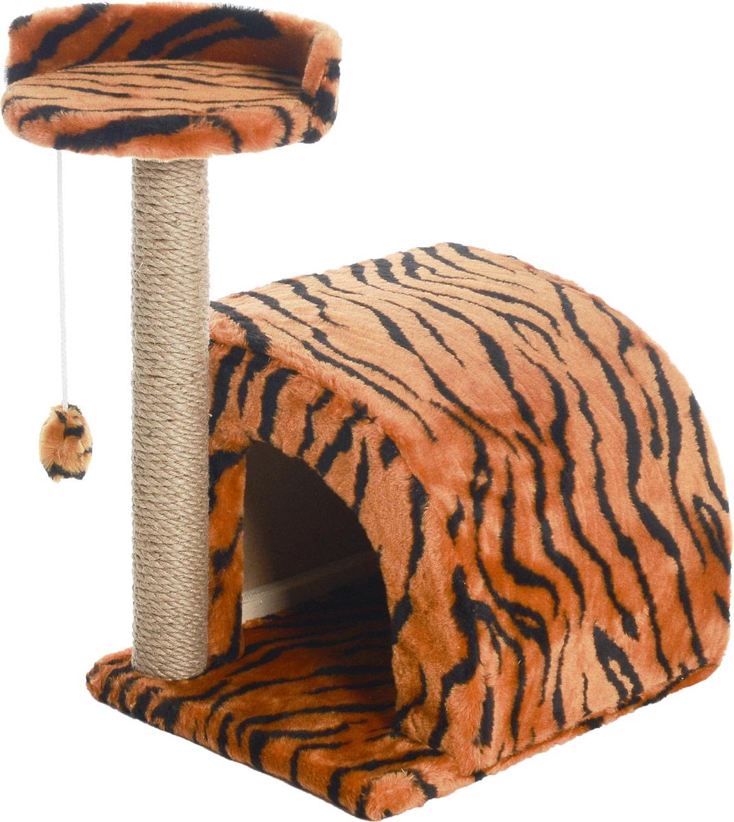 Домик-когтеточка Меридиан, полукруглый, цвет: оранжевый, черный, бежевый, 54 х 40 х 59 смД518ТДомик-когтеточка Меридиан выполнен из высококачественного ДВП и ДСП и обтянут искусственным мехом. Изделие предназначено для кошек. Ваш домашний питомец будет с удовольствием точить когти о специальный столбик, изготовленный из джута. А отдохнуть он сможет либо на полке, либо в домике. Изделие снабжено подвесной игрушкой. Домик-когтеточка Меридиан принесет пользу не только вашему питомцу, но и вам, так как он сохранит мебель от когтей и шерсти. Общий размер: 54 х 40 х 59 см. Размер домика: 36 х 36 х 32 см. Размер полки: 27 х 26 см.