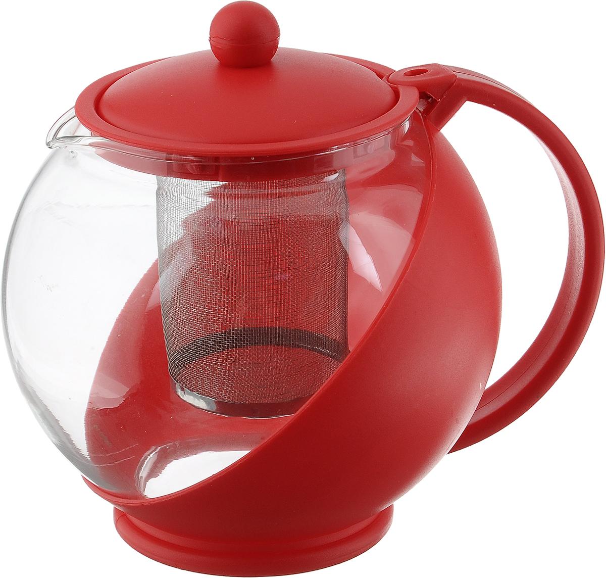 Чайник заварочный Mayer & Boch, с фильтром, цвет: прозрачный, красный, 1,25 л25739Заварочный чайник Mayer & Boch, выполненный из пластика и стекла, предоставит вам все необходимые возможности для успешного заваривания чая. Чайник оснащен крышкой и сетчатым фильтром из металла, который задерживает чаинки и предотвращает их попадание в чашку. Чай в таком чайнике дольше остается горячим, а полезные и ароматические вещества полностью сохраняются в напитке. Эстетичный и функциональный чайник будет оригинально смотреться в любом интерьере. Диаметр чайника (по верхнему краю): 9,6 см. Высота чайника (без учета крышки): 13 см. Размер ситечка: 6 х 6 х 7,8 см.